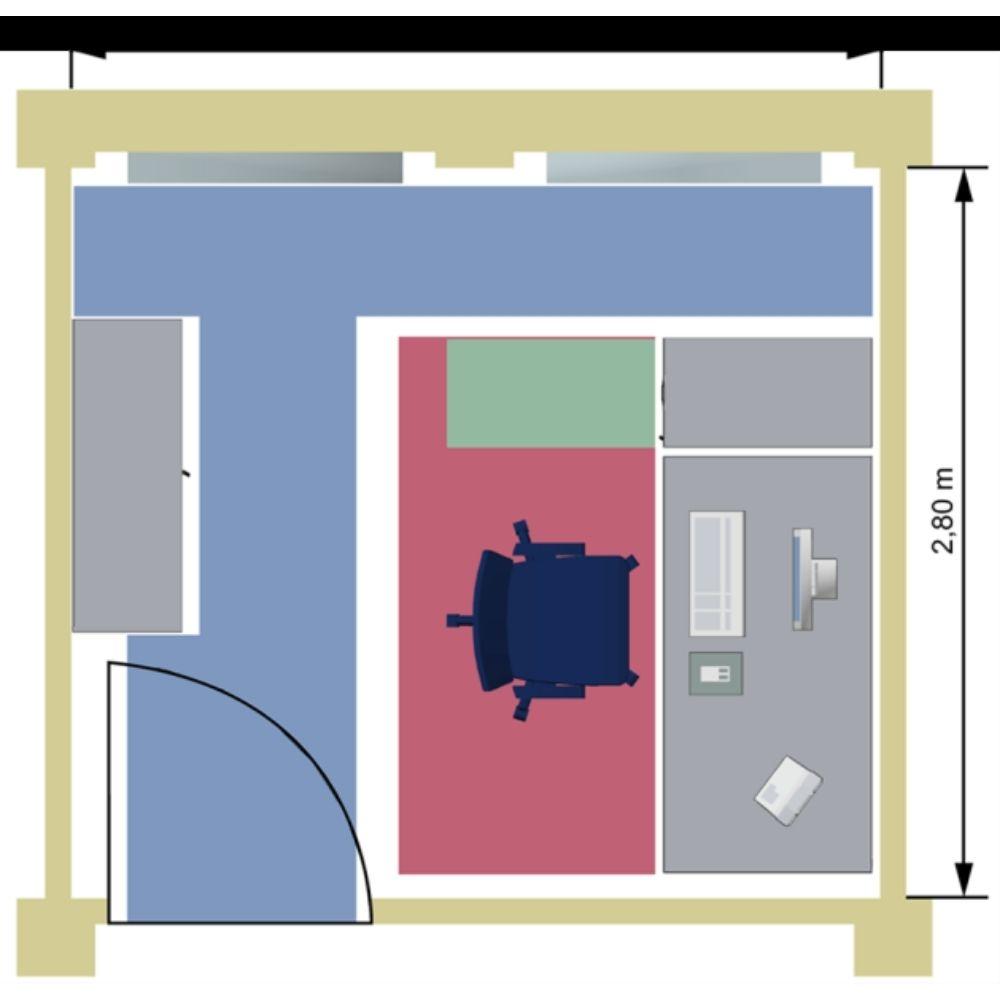 Beispiel für benötigte Grundfläche an Büroarbeitsplätzen